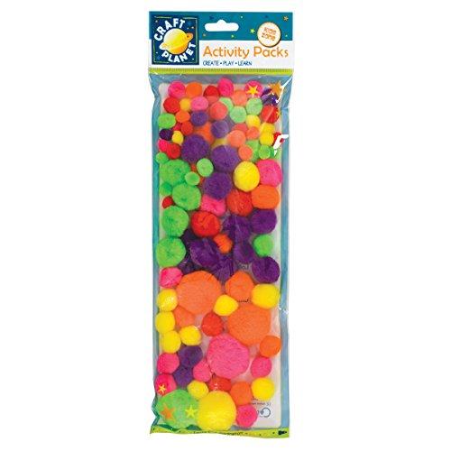 Craft Planet - Pom-PON, 100 pz, Colori Fluo Assortiti