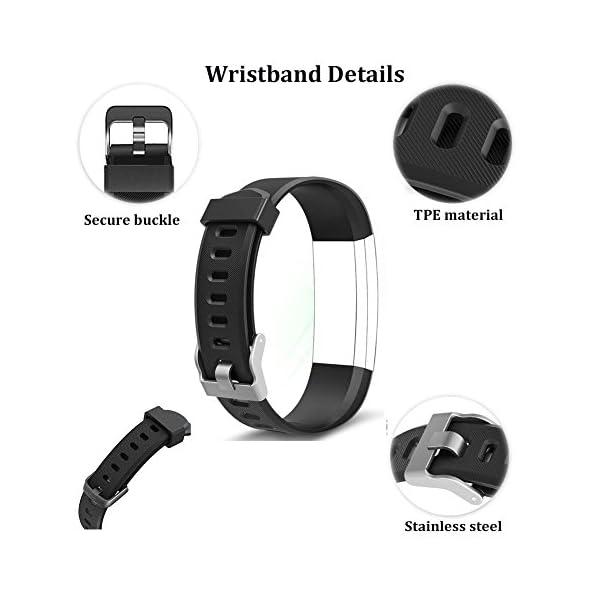 YiYunte ID115Plus HR - Correa de repuesto ajustable de TPU para pulsera inteligente 115 Plus HR Fitness Trackers 4