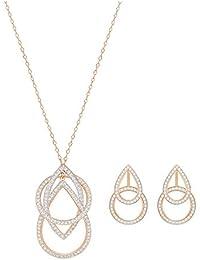 Swarovski Damen-Schmuckset Halskette + Ohrringe Kristall weiß - 5292395