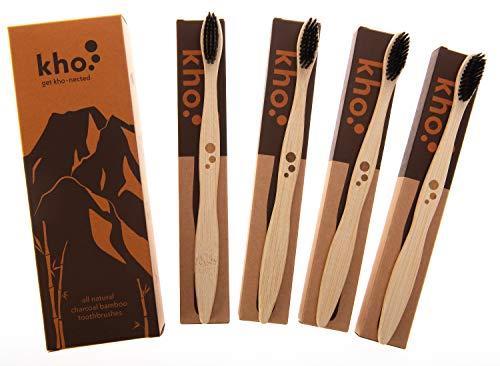 Kho Natural|Biodegradable|Eco-Friendly Bamboo cepillo de dientes Set de 4 - carbón medio cerdas de nailon sin BPA