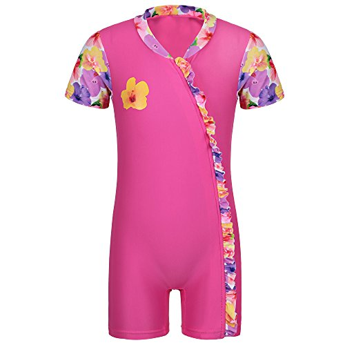 HUANQIUE Baby Girls ShortSleeve One Piece zipper Swimsuit 6Month-3Year UPF 50+ Sun Protection Swimming Costume