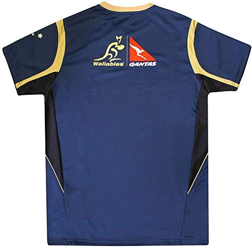Wallabies Camiseta Oficial de Australia Rugby World Cup Fans Réplica de Entrenamiento por Asics, Unisex Adulto, Asics tee NVY, Azul Marino, XX-Large