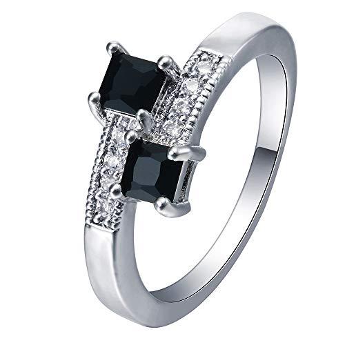 obungshochzeitsschmuck-Ring des Schwarzen Zirkonia-Quadrats Versilberter Weiblicher, 7 ()