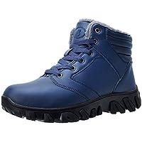 JIASUQI Men Trekking Hiking Shoes Outdoor Hiking Snow Boots Fur Lined Non-Slip Rubber Sole Waterproof Winter Shoes Blue, 13 UK