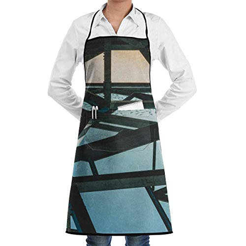 Osmykqe Wooden Framed Glass Top Aprons Bib for Mens Womens Chefs Lace Adjustable Adult Kitchen Waiter Aprons with Pockets -