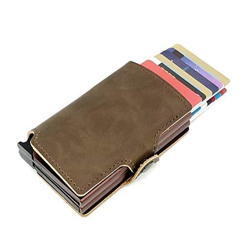Männer Carbon Mini Pop Up Wallet for Männer Slim Leder Kreditkarte Secure Pocket Holder Wallet (Color : Dual Brown 1) Dual Pocket Color