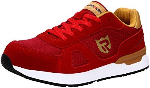 LARNMERN Scarpe Antinfortunistiche da Uomo, Punta in Acciaio Sneakers da Lavoro Leggere ed Eleganti (42 EU, Oro Rosso)