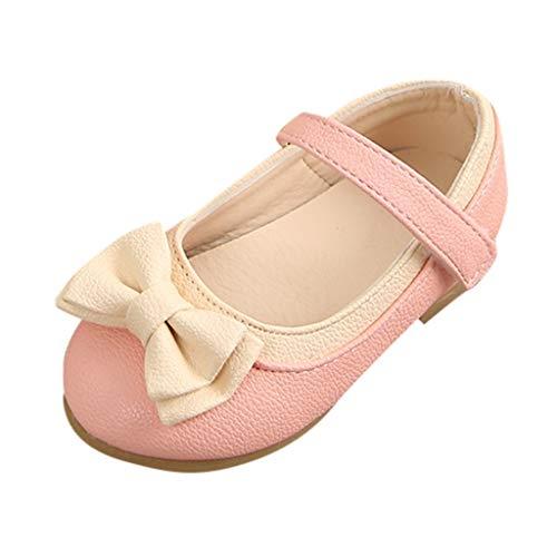 EUCoo_kinder Mädchen kleine Schuhe Sommer Sandalen Bögen quadratischen Absätzen einzelne Schuhe Prinzessin Schuhe Tanzschuhe(Rosa, 25)