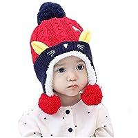 Chicos de Invierno para niñas Sombrero del Gato del niño Niñas bebés Niños Felpa Diversión Animales Sombreros para otoño Invierno para Actividades de Snowboard al Aire Libre (Color : Rojo)
