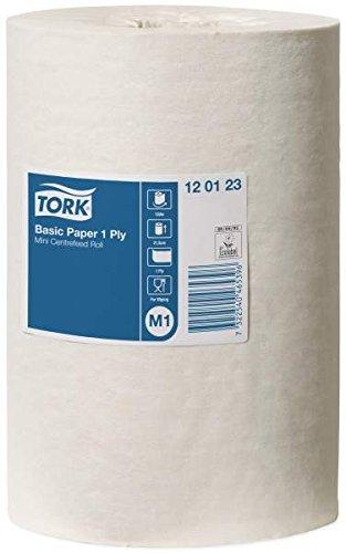 TORK 120123 Papier d'essuyage Basic Bobine Mini à Dévidage Central M1, 120 m x 21,5 cm, vendu par colis de 11 bobines