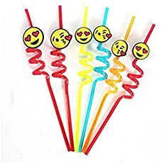 Perfect Curly Emoji Reusable Drinking Straws Set of 4 pcs By By Perfect Pricee