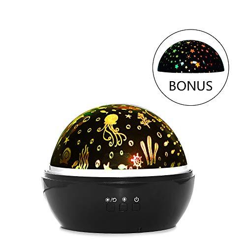 HLEARIT Rotierender Star Projektor für Deckenozean - Plug-in LED Dekoratives Nachtlicht Lampe USB Schlafzimmer Kindergarten Kinder Weihnachten Geburtstag Geschenk - Meer-lampe