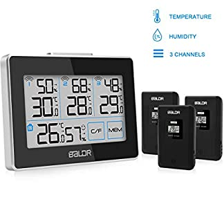 FOCHEA Estación Meteorológica Inalámbrica con 3 Sensor Exterior, Termómetro Higrómetro Digital Interior y Exterior con Botón Táctil Monitor de Temperatura y Humedad