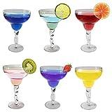 Margarita Cocktailgläser, 280 ml, Packung mit 6 Stück, Kristallklar, Martini, Champagner, Weinprobe Gläser, Spülmaschinenfest, 4 farbige Gläser, Dunkel und Hellblau x 1, Pfirsichfarbe und Grün x 1