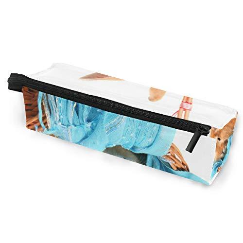 Pencil Bag Case Sonnenbrillen Bunny Rabbit In Korb mit blauem Schal Kosmetik Studenten Briefpapier Beutel Reißverschluss für Mädchen