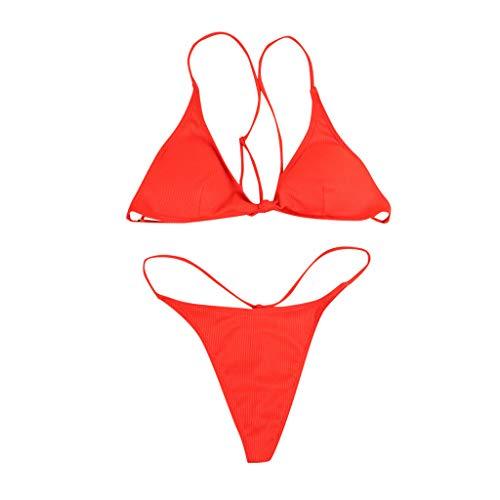 iYmitz Sommer Damen Bademode Mode Bandeau Bandage Bikini Set Push-Up Brasilianische Badebekleidung Beachwear Badeanzug(rot,EU-36/CN-M)