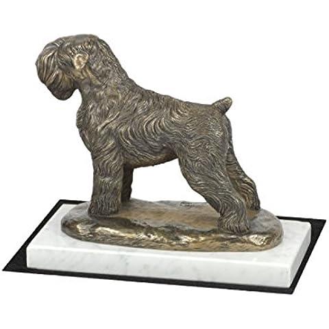 Terrier ruso negro, Perro en la estatua de base de mármol blanco, edición limitada, ArtDog