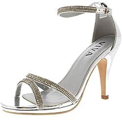 Viva Mujer Diamante Medio Talón Correa de Tobillo Boda Fiesta Metálico Sandalias Zapatos - Plata KL0310A 6UK/39
