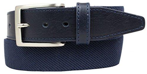 Hochwertiger Stretch-Gürtel mit echtem Leder 3,5cm | Elastischer Gürtel für Damen Herren 35mm | Ledergürtel in Schwarz, Braun, Tabak und Marine