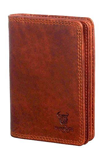 MATADOR® Hochwertiges Echt Leder Kreditkartenetui Herren RFID & NFC Schutz Kreditkartenhülle Damen Ausweisetui Ausweishülle A7 Antik Braun