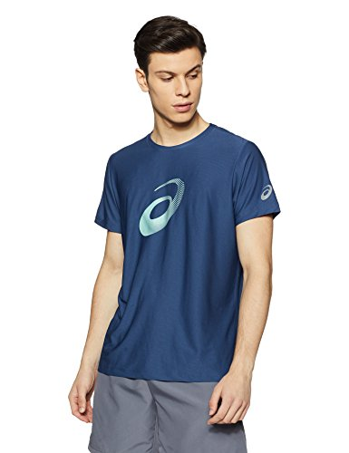 ASICS Men's Printed Regular Fit T-Shirt (134085.0793_Dark Blue_L)