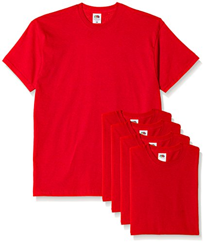 Fruit of the Loom Herren T-Shirt, 5er Pack Rot