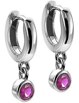 Orphelia Kinder-Creolen 925 Silber rhodiniert Zirkonia pink Rundschliff - ZO-6075