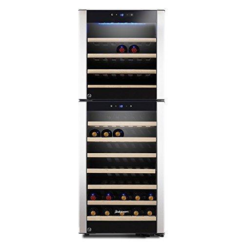 Kalamera KRC-73DZF Design Weinkühlschrank für bis zu 73 Flaschen (bis zu 310 mm Höhe),zwei...