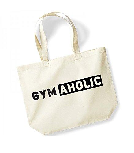 GymAholic - Large Canvas Fun Slogan Tote Bag Natural/Black