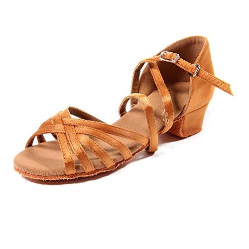 DoGeek-Zapatos de Baile latín Zapatos Latinos de satín Niñas Zapatos Latinos Mujer para niños/Niñas y Principiantes(Tacón 2.7cm