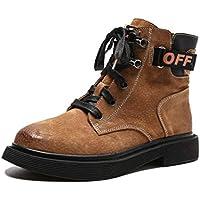 LIANGXIE Botas Sin Tacón De Cuero para Mujer Zapatos De Tacón Alto para Mujer Inglaterra Botas Martin De Cuero Botas para Mujer Botas para Herramientas (Color : Marrón, tamaño : 40)
