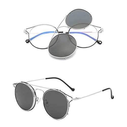 YHgiway Vintage Runde Rahmengläser - Nicht verschreibungspflichtige klare Clear Lens Brillengestell - Unisex Clip-OnObjektive Sonnenbrille UV400-Schutz, YH7754,SilverFrame/BlackGrayClip