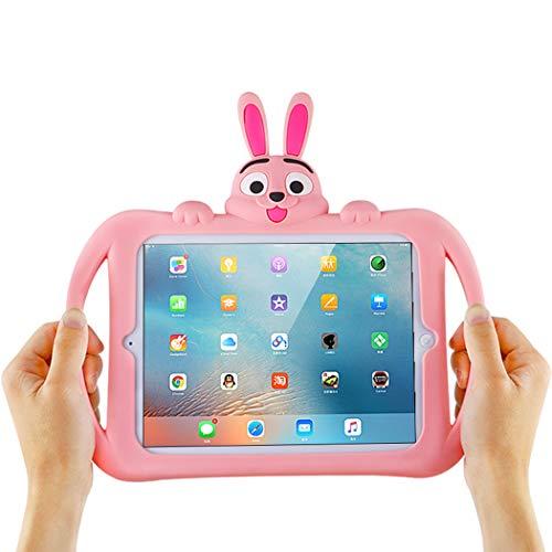 Schutzhülle für iPad Mini 4 (für Kinder, Mädchen, Jungen, Cartoon-3D-Hase, stoßfest, weich, mit Aufstellfunktion) Rosa (Mädchen Teen Betten)