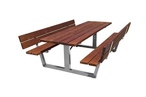 estrucmader–Picknicktisch mit Rückenlehne Edelstahl/Holz 1600x1730x775mm Kirsche + grün (Beine Kirsche Holz)