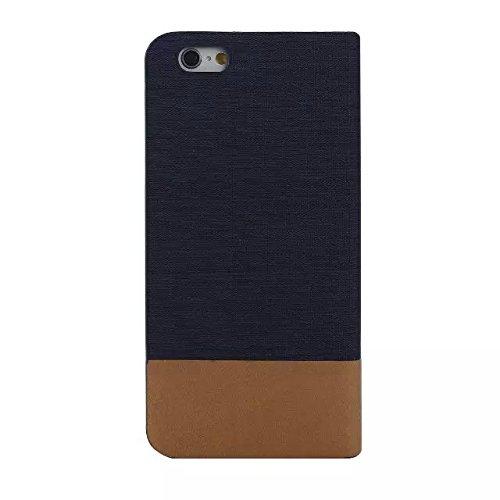 iPhone Case Cover Étui pour iPhone 6 6S, étui mixte en couleur, toile Étui en cuir PU Housse pour étui avec slot pour carte Couverture souple en silicone TPU pour iPhone 6 6S ( Color : 5 , Size : IPho 4
