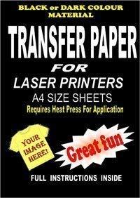 Bügelpapier, mit Laserdrucker / Kopierer bedruckbar, für T-Shirts und dunkle Stoffe, A4, 5 Stück -