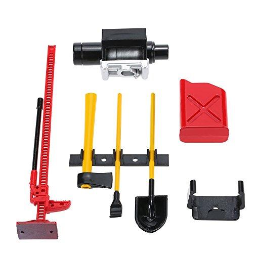 MagiDeal Mini Kraftstofftank Winde Jack Werkzeuge Kit Für 1:10 Land Rover Defender D90 RC4WD D90 SCX10 Rock Crawler RC-Car ‖ Rc Modellbau ‖ RC Ferngesteuerte Autos - Rot Jack Kit