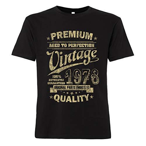 ShirtWorld - Aged to Perfection 1978 zum 40. Geburtstag - Herren T-Shirt Schwarz M
