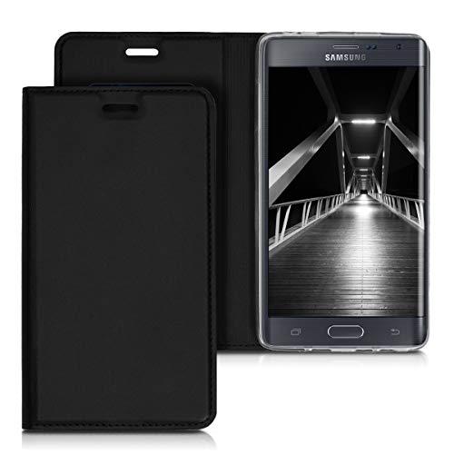 kwmobile 1x Funda con tapa compatible con Samsung Galaxy Note Edge en negro con recubrimiento de cuero sintético