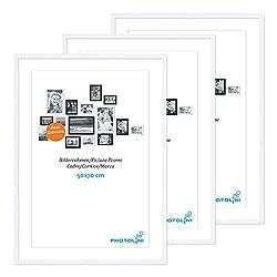 Photolini 3er Set Poster-Bilderrahmen 50x70 cm Modern Weiss aus MDF mit Acrylglas/Posterrahmen/Wechselrahmen
