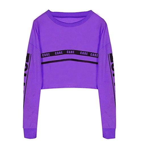 Auspicious beginning Frauen-Runde Collar Striped Buchstaben gedruckte kurze Sweatshirts (Kleinkind Lauren Jungen Ralph Polos)