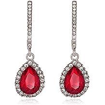 Strass cristal colgador Pendientes Pendientes Pendientes de gota Forma piedra rojo