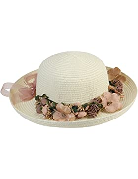 Mujeres dama amplia ala sombrero Tinksky verano playa tapa sol disquete sombreros de paja, regalo día de la madre...