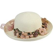 Tinksky Las mujeres sol sombrero ancho ala señora Sol Cap verano playa flor  gorro paja con 3b8c58a4bb2