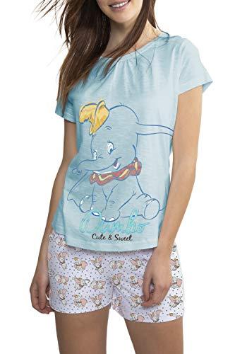 Disney Damen Pyjama Kurzarm Dumbo, 50889-0, Blau, 50889-0 XS