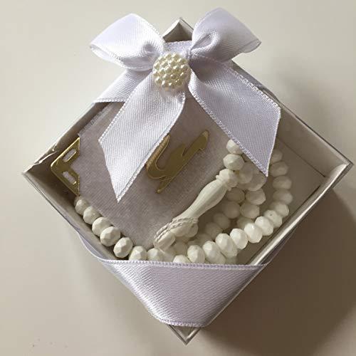 Mevlid Hatırası Mini Kuran & Gül Kokulu Tesbih 99'lu süslü Kare Kutu Içinde (10 Adet) / Mini Koran & Parfümierte Gebetskette mit Rosenduft und 99 Perlen in schöner Geschenkverpackung (10 Stück) (Weiß)