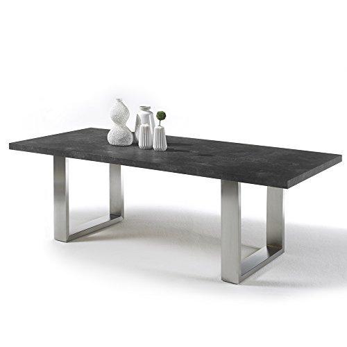 Design Esstisch STONE Esszimmertisch Konferenztisch Kufengestell Kufentisch Edelstahl gebürstet Tischplatte Marmor-Optik 180x100cm #12690