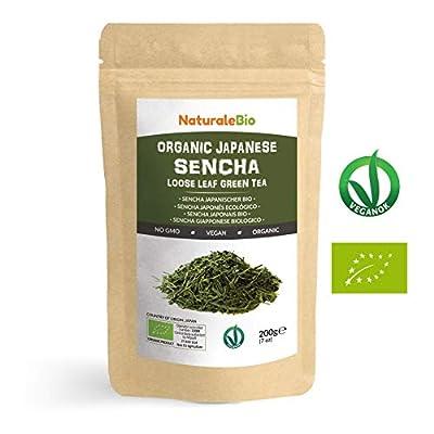 Thé vert Sencha Japonais Bio [ Upper grade ] de 200g | 100 % Bio, Naturel et Pur, Thé vert en vrac de première récolte cultivée au Japon | Organic Japanese Sencha Green Tea | NATURALEBIO