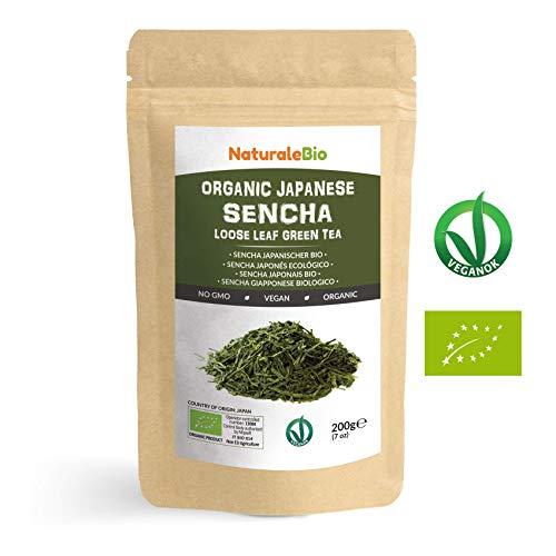Japanischer Grüner Tee Sencha Bio [Upper grade] 200g | 100% natürlicher, reiner grüner Tee lose in Blättern der ersten Ernte, die in Japan angebaut werden | Pure Organic Japanese Sencha Green Tea