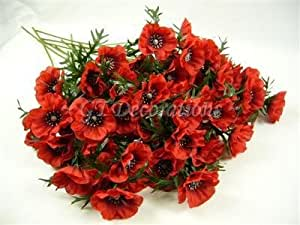 12 Artificial Silk Flowers 5 heads Red Poppy Stems /Sprays from GT Decorations by GT Decorations